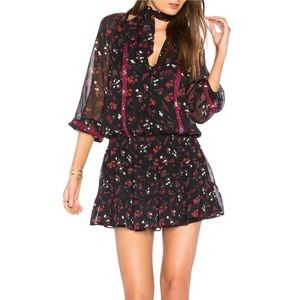 Joie Small 100% Silk Black Red  Floral Dress